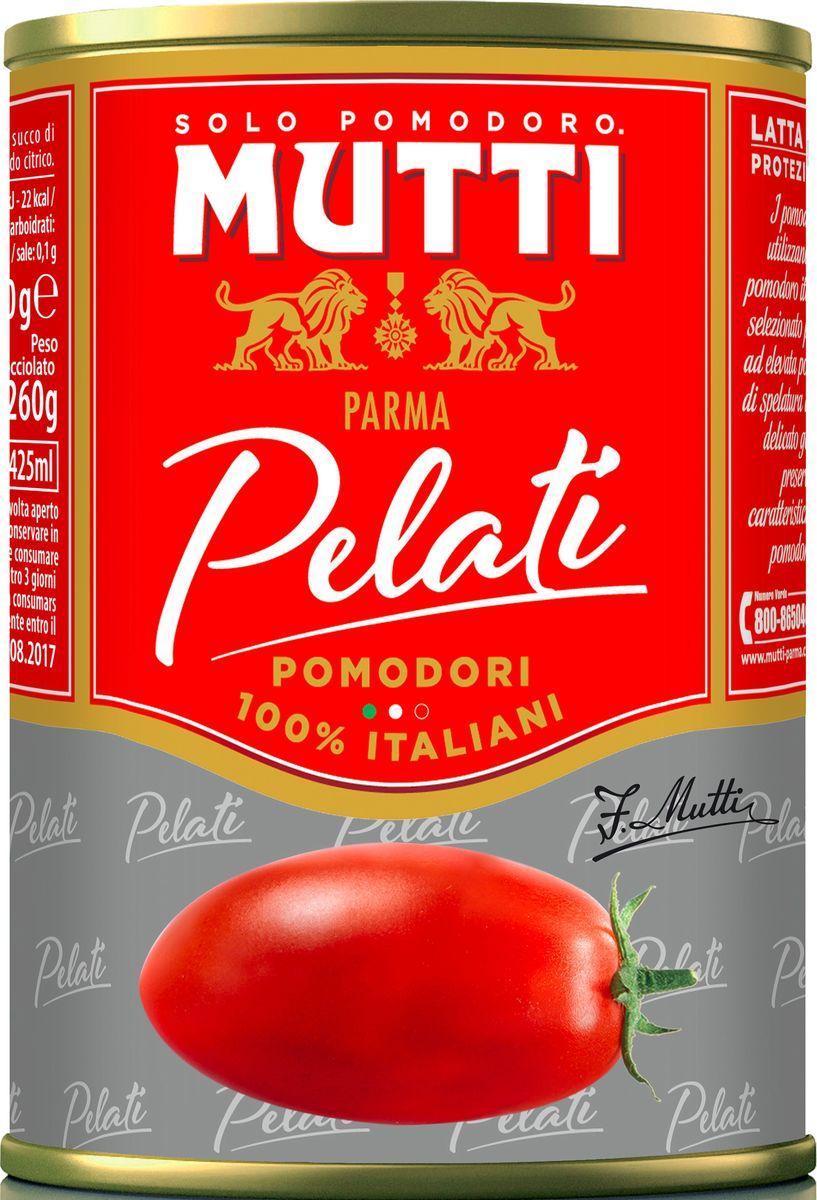 Mutti Томаты очищенные целые в томатном соке, 400 г2642Pelati (очищенные томаты) - сочные и плотные томаты без кожицы в собственном соку. Томаты Pelati Mutti изготавливаются из отборных помидоров, собранных в момент идеальной спелости, обладают насыщенным цветом и ароматом! Идеальный компонент для изысканных блюд средиземноморской кухни!История компании Мутти началась в 1899 году, в регионе Эмилия Романья, которая с давних времен славится своей изысканной кухней.Компания Мутти – производитель, прошедший путь от небольшой сельскохозяйственной фабрики до крупного производителя с мировым именем благодаря высшему качеству продукции и любви к своему делу.Превознести томат до самых его вершин… - в этой фразе раскрывается суть компании Мутти, поэтому сегодня, также как и в прошлом, с той же страстью и вниманием семья Мутти производит высококачественную продукцию, разрабатывая новые рецепты и совершенствуя вкус томатов. Семьей Мутти придумана томатная паста в тюбиках, томатный уксус, первыми были выпущены на рынок резанные кубиками томаты (polpa), секрет производства которых держится в строжайшей тайне.Компания Мутти стала первой среди производителей выпускать всю продукцию под знаком интегрированная и сертифицированная продукция.Pomodorino dOro - приз за лучший урожай. Ежегодно 200 крестьян соревнуются в качестве помидоров.
