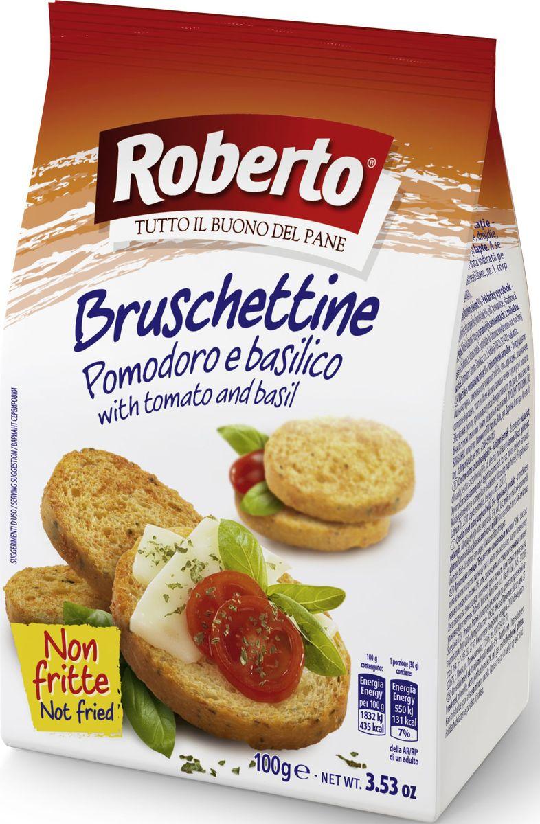 Roberto Брускеттине хлебцы хрустящие со вкусом томатов и базилика, 100 г молочные смеси nan заменитель гипоаллергенный 1 с рождения 400 г