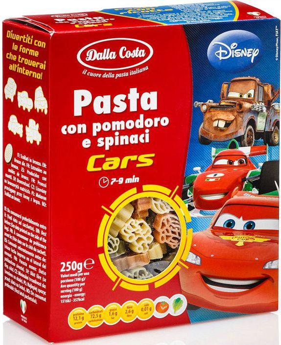 Dalla Costa Disney Фигурные Тачки со шпинатом и томатами, 250 г4230Тачки - трехцветные макаронные изделия со шпинатом и томатами - фигурные макароны из твердых сортов пшеницы со шпинатом и томатами, созданные по мотивам мультфильмов Disney: тачки. Рекомендуются для приготовления гарниров, запеканок, салатов и супов. Порадуйте малышей изысканным, вкусным и полезным блюдом, заправив пасту томатным соусом.Варить в кипящей воде 7-9 минут. Семья Далла Коста бережно хранит традиции производства итальянской пасты, эдакий любовный союз, который призван удовлетворять вкусам ценителей в разных уголках света. Для того чтобы расширить ассортимент и донести ценность превосходного продукта до потребителя, Dalla Costa запустила линии трехцветной и ароматизированной пасты, в секторе производства которых компания является лидером на сегодняшний день. Постоянное стремление к более высокому качеству находит отражение в новых вкусах, богатом ассортименте, разнообразии форматов и создании новых продуктов. Компания стремится к лидерству на национальном и международном уровнях в секторе производства особой, ароматизированной и трехцветной пасты, продолжая отличаться высоким качеством продукции, широтой ее гаммы и гибкостью в возможности отвечать требованиям различных рынков.