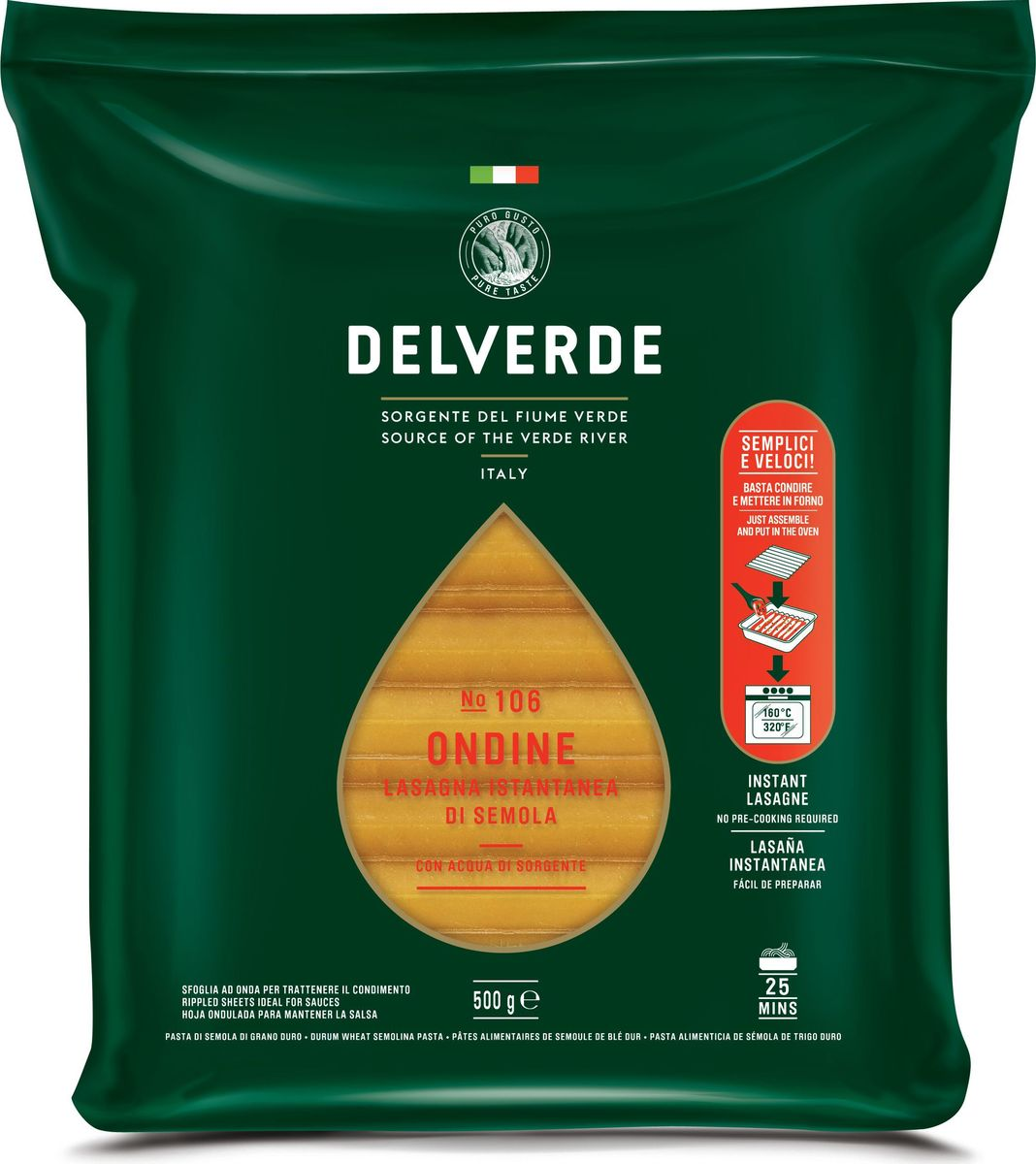 Delverde № 106 паста Ондине, 500 г6789Лазанья отлично сочетается с рагу по-неаполитански с сыром рикотта или с соусом из дичи.Рекомендуемый способ приготовления - запекание в духовке, с различным составом начинки и соусом Бешамель. Этот способ настолько признан по всей Италии, что принял название формы этой пасты. Способ приготовления: Продукт предварительно отварен, готов для приготовления лазаньи. Перед запеканием поместить в горячую воду на несколько минут. После чего поместите первый лист в форму и нанесите желаемую начинку. Вторую пластину положите перпендикулярно первой, так чтобы волны пересеклись под углом 90 градусов. Продолжайте накладывать друг на друга пластины почти до полного заполнения формы. В конце добавьте немного бульона или воды из-под пасты, чтобы добавить блюду влажности в процессе приготовления. Закройте форму фольгой и выпекайте в духовке в течение 25 минут при температуре 160°C. За 10 минут до окончания выпекания удалите слой фольги, чтобы верхний слой стал золотистым.