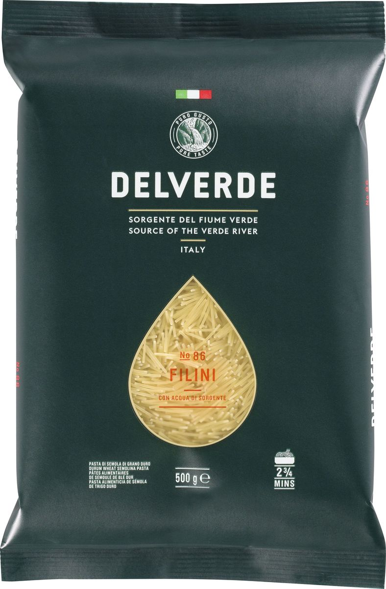 Delverde № 086 паста Филини, 500 г7240Филини Delverde – тонкая паста, идеальна для приготовления супов. Варить в кипящей подсоленной воде 2,20 минуты.Компания Delverde Industrie Alimentari S.p.a начала свою историю в середине XX века в Фаре, доведя до совершенства искусство традиционного производство пасты. Традиция изготовления пасты в историческом поселении Фара Сан Мартино известна по всему миру с XVII века: именно здесь производители впервые научились искусству смешивать зерна пшеницы с чистейшей водой реки Верде. Фара Сан Мартино до сих пор славится как одна из мировых столиц пасты. С самого начала миссией компании было производить и предлагать миру высококачественные продукты из высококачественных ингредиентов. Компания Delverde до сих пор работает в соответствии с наилучшими итальянскими гастрономическими и промышленными традициями. Для приготовления пасты Delverde используются только отборные, отлично сочетающиеся друг с другом ингредиенты: чистейшая вода из реки Верде и зерна самой качественной твердой пшеницы. Лайфхаки по варке круп и пасты. Статья OZON Гид