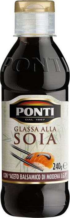 Ponti Топпинг соевый Glassa alla soia на основе бальзамического уксуса Di Modena, 250 млМС-00000577Вкус и аромат вареного виноградного сусла, смешанный снеповторимым бальзамическим уксусом Модены, создаютбальзамический топпинг. Он появился благодаря лучшимитальянским и европейским шеф-поварам, которые уже давновыпаривали бальзамический уксус, чтобы получить густой вкусныйкрем. Обладает великолепным кисло-сладким вкусом и является изысканнымлакомством и позволяет подчеркнуть и усилить вкус самыхразнообразных блюд.
