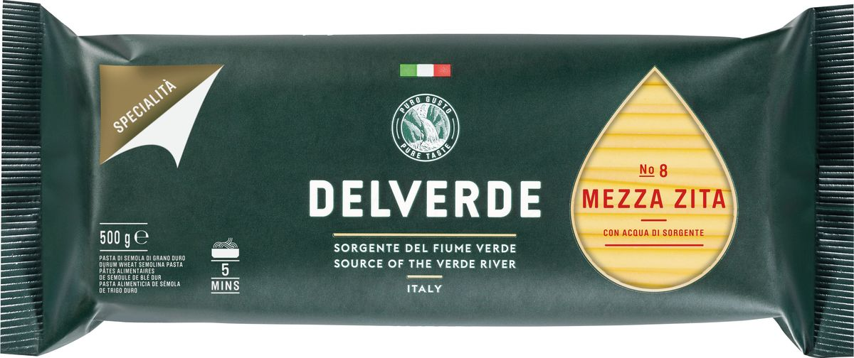 Delverde № 008 паста Медза Дзита, 500 г federici spaghetti спагетти 500 г