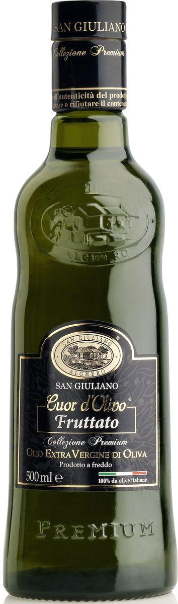 San Giuliano Fruttato Extra Vergine масло оливковое нерафинированное, 500 млМС-00006505Изысканное оливковое масло для самых требовательных гурманов, несколько раз было отмеченопремиями среди лучших масел Италии и мира. Ранний сбор оливок наделяет это маслоизысканным золотисто-желтым цветом и ярко-выраженными плодовыми нотами во вкусе. Онобогато полифенолами и имеет насыщенный вкус с нотами артишока, свежескошенной травы,длительное пикантное послевкусие с приятной горчинкой. Рекомендуется как заправка к овощнымсалатам и салатам с морепродуктами, овощам на пару, овощным супам, жареному красному мясу.Изготовлено из оливок Бозана, Франтойо, Коратина.