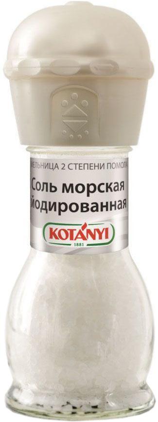 Kotanyi соль морская йодированная мельница, 92 г413611Для получения морской соли морскую воду направляют в соляные озера, где она испаряется под воздействием солнца, оставляя только кристаллы соли. Соль Kotanyi универсальна в использовании. Она усиливает вкус блюд, является консервантом и используется для производства сыра.