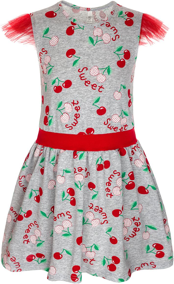 Платье для девочки M&D, цвет: серый меланж, красный, зеленый. SJD27069M22. Размер 110SJD27069M22Платье для девочки от M&D изготовлено из натурального хлопка. Модель-миди с короткими рукавами-крылышками и круглым вырезом горловины оформлено оригинальным принтом.