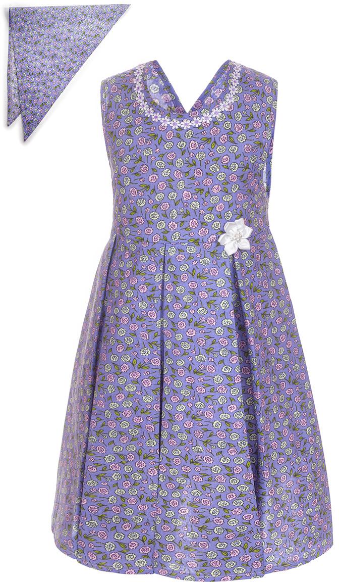 Платье для девочки M&D, цвет: сиреневый. SWD27064M77. Размер 122SWD27064M77Платье для девочки от M&D изготовлено из натурального хлопка и оформлено оригинальным принтом. Модель-миди с круглым вырезом горловины дополнена на талии завязками.