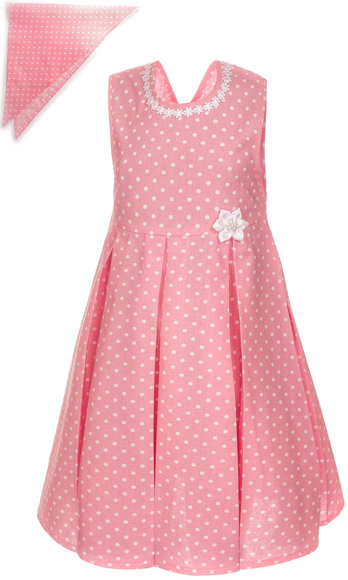 Платье для девочки M&D, цвет: кораллово-розовый, белый. SWD27064M57. Размер 110SWD27064M57Платье для девочки от M&D изготовлено из натурального хлопка и оформлено оригинальным принтом. Модель-миди с круглым вырезом горловины дополнена на талии завязками.