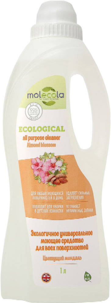Универсальное моющее средство Molecola Almond Blossom, для всех поверхностей, экологичное, 1 л9059Универсальное моющее средство Molecola AlmondBlossom подходит для всех поверхностей в домеидеально подходит для эффективной игигиенической очистки любых поверхностей.Экономично в использовании. Устраняет ипредотвращает появление неприятных запахов.Обладает антибактериальными свойствами.Безопасно для кожи и дыхательных путей. Вконцентрированном виде используется для очисткиванн, раковин, детских ванночек, горшков и другихповерхностей. Требует смывания. Вразведенном виде используется для мытья пола(керамической плитки, окрашенных полов,ламинированной доски, паркета, линолеума) идругих гладких поверхностей в доме (столы, стены,мебель, дерево, камень, синтетика). Не требуетсмывания.При использовании раствора для мытья детскихигрушек, стульчиков, колясок, манежей и другихповерхностей требует смывания.Рекомендовано людям, имеющималлергическую реакцию на средства бытовойхимии. Состав: Вода, > 5% анионные ПАВ, глицерин, >5% амфотерные ПАВ, загуститель (ксантановаякамедь), консервант, пеногаситель, отдушка,лимонная кислота.Товар сертифицирован.Уважаемые клиенты! Обращаем ваше внимание на возможные изменения в дизайне упаковки. Качественные характеристики товара остаются неизменными. Поставка осуществляется в зависимости от наличия на складе.Как выбрать качественную бытовую химию, безопасную для природы и людей. Статья OZON Гид