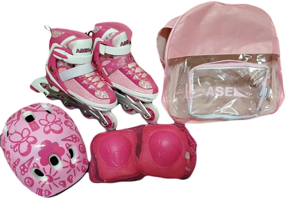 Комплект Ase-Sport Combo: коньки роликовые, шлем, защита, цвет: розовый. ASE-198. Размер S (32/35)MCI54145_WhiteВ комплект входят: раздвижные ролики, защитный шлем, налокотники, наколенники и защита для рук, а также сумка для переноски и хранения.Ролики оснащены удобной системой изменения размера с помощью кнопки, которая позволяет корректировать размер сапожка по мере роста ноги ребенка. Верх сапожка ролика изготовлен из современного синтетического материала, стойкого к внешним воздействиям. Застежка типа AUTO LOCK удобно регулируется на нужный размер.Ролики комплектуются тормозом, колесами класса жесткости 82А, размер 70мм PVC.Шнуровка коньков: матерчатые петли в сочетании с широким язычком, и шнурки из полиэстера с синтетическими волокнами для более прочной фиксации ноги.Алюминиевая рама обеспечит прочность и устойчивость к механическим повреждениям.