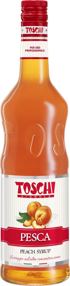 Toschi Персик сироп, 1 лМС-00005627Сироп Персик Toschi отличается красивым цветом и ароматом. Популярен в качестве ингредиента для приготовления коктейлей, лимонадов и кондитерских изделий