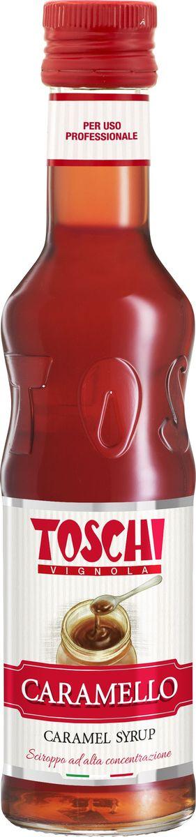 Toschi Карамель сироп, 0,25 лМС-00005667Сироп Карамель Toschi отличается насыщенным вкусом и ароматом карамели. Подходит для приготовления алкогольных и безалкогольных коктейлей, в качестве дополнения к молочным напиткам, горячему шоколаду, кофе, чаю, мороженому и кондитерским изделиям.О производителе: Компания Тоски Виньола основана в 1945 году как поставщик продуктов питания. Деятельность компании началась с производства фруктов в ликере, далее ассортимент начал включать сиропы, ликеры, вишни в сиропе Amarena, ингредиенты для мороженого и кондитерских изделий, бальзамический уксус и многое другое.За 70 лет развития компания Тоски Виньола значительно расширила ассортимент выпускаемых продуктов. Благодаря высочайшему качеству и использованию натуральных ингредиентов продукция компании Тоски Виньола известна во всем мире. В 2006 году вся продукция Тоски Виньола получила сертификат IFS (Международный пищевой стандарт). Сегодня Тоски Виньола является семейной компанией, ей управляют Джорджио Монторси и Массимо Тоски, которые бережно хранят секреты семейного производства.