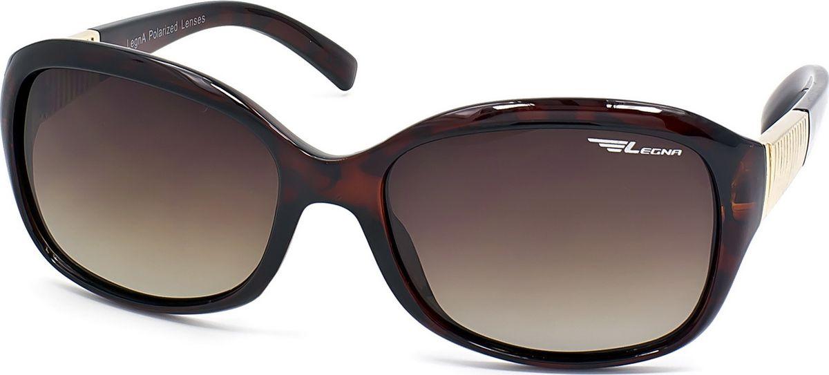 Очки поляризационные женские Legna, цвет: коричневый. S8708BINT-06501Солнцезащитные очки LEGNA с поляризационными линзами превосходно предохраняют глаза от любого рода вредных бликов и УФ-лучей, что делает вождение безопасным и комфортным. Также очки LEGNA ничем не уступают самым известным маркам и брендам в эстетической части. Благодаря линзам премиум класса очки LEGNA прекрасно подходят для повседневной носки, занятий спортом, отдыха и конечно для использования за рулем.