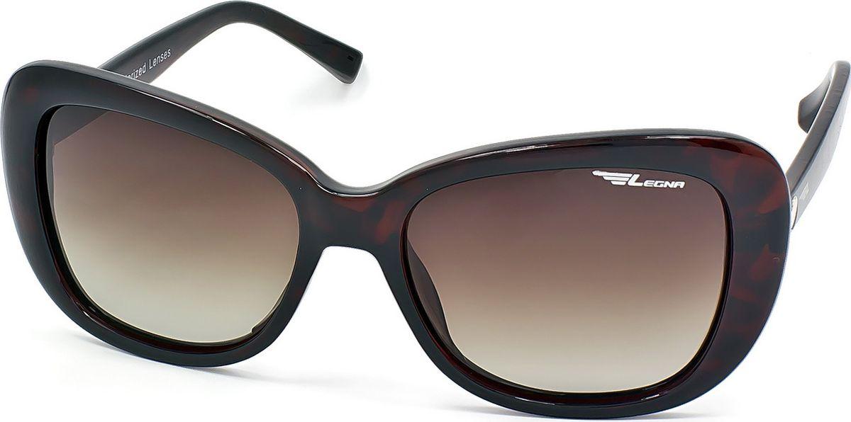 Очки поляризационные женские Legna, цвет: коричневый. S8709BINT-06501Солнцезащитные очки LEGNA с поляризационными линзами превосходно предохраняют глаза от любого рода вредных бликов и УФ-лучей, что делает вождение безопасным и комфортным. Также очки LEGNA ничем не уступают самым известным маркам и брендам в эстетической части. Благодаря линзам премиум класса очки LEGNA прекрасно подходят для повседневной носки, занятий спортом, отдыха и конечно для использования за рулем.