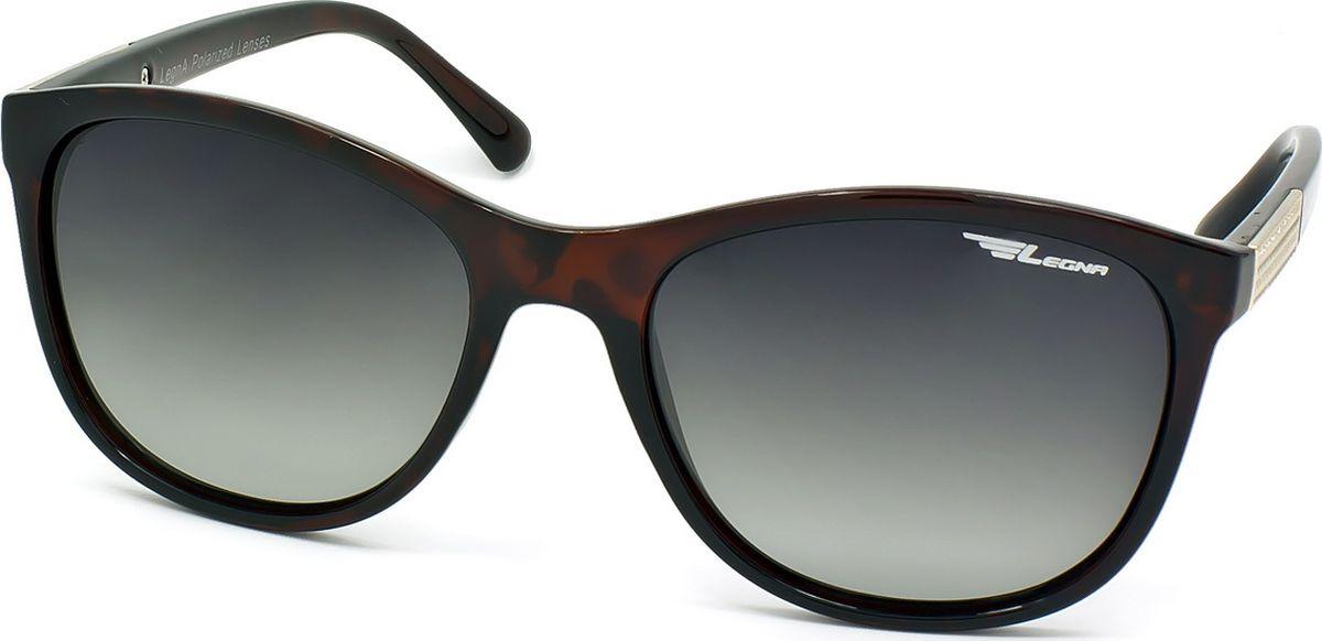 Очки поляризационные женские Legna, цвет: зеленый, темно-коричневый. S8715BBM8434-58AEСолнцезащитные очки LEGNA с поляризационными линзами превосходно предохраняют глаза от любого рода вредных бликов и УФ-лучей, что делает вождение безопасным и комфортным. Также очки LEGNA ничем не уступают самым известным маркам и брендам в эстетической части. Благодаря линзам премиум класса очки LEGNA прекрасно подходят для повседневной носки, занятий спортом, отдыха и конечно для использования за рулем.
