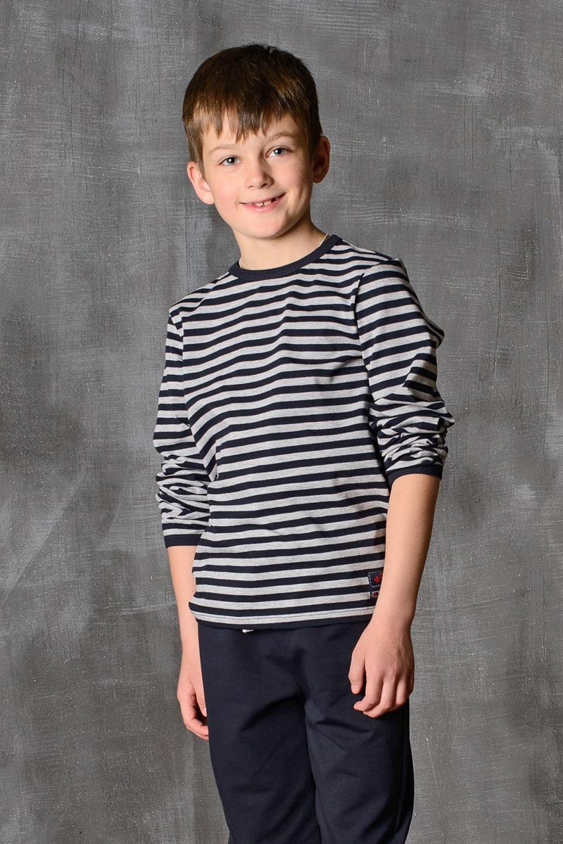 Лонгслив для мальчика Modniy Juk, цвет: серо-синий. 02B00220102. Размер 134/140 лонгслив для мальчика modniy juk цвет хаки белый 02в00020100 размер 128 134
