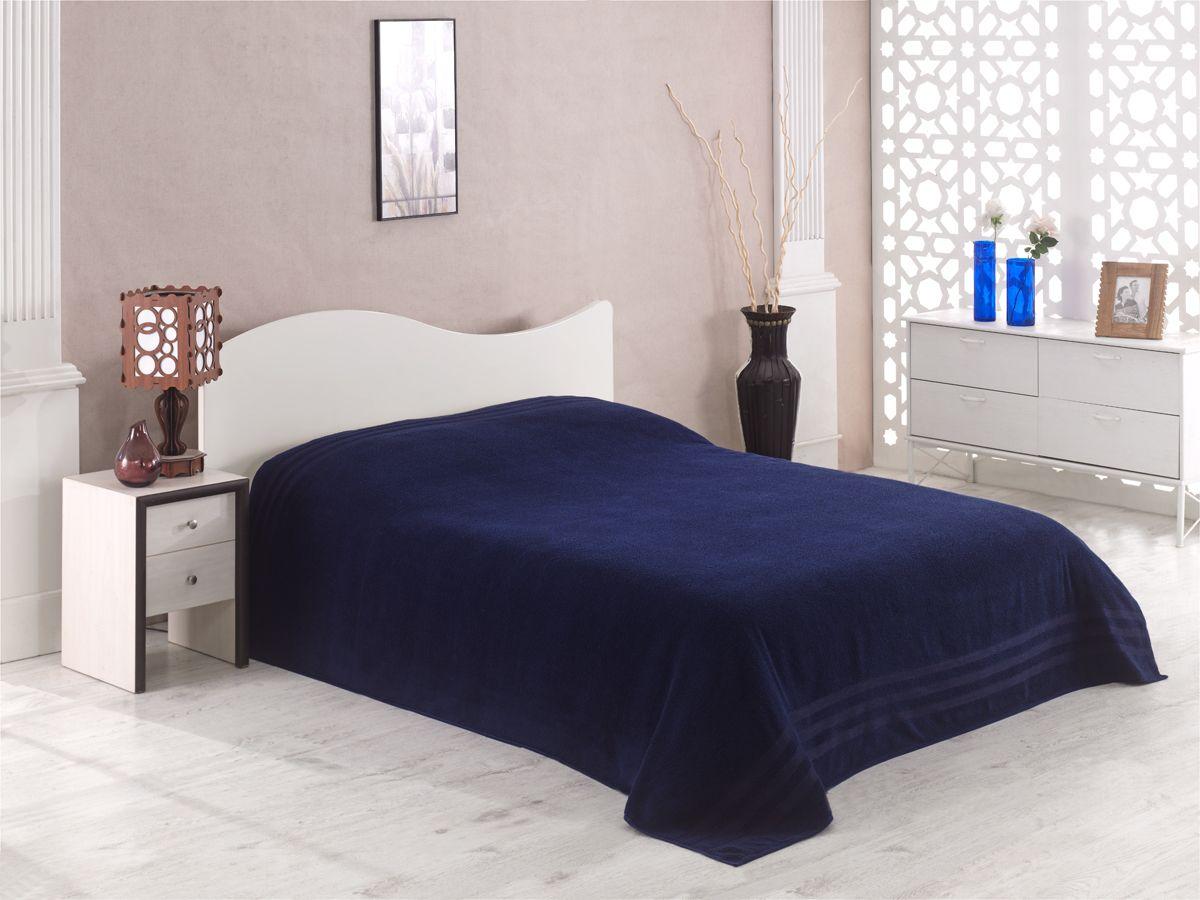 Простынь махровая Karna Petek, цвет: синий, 200  220 см. 2637/CHAR010