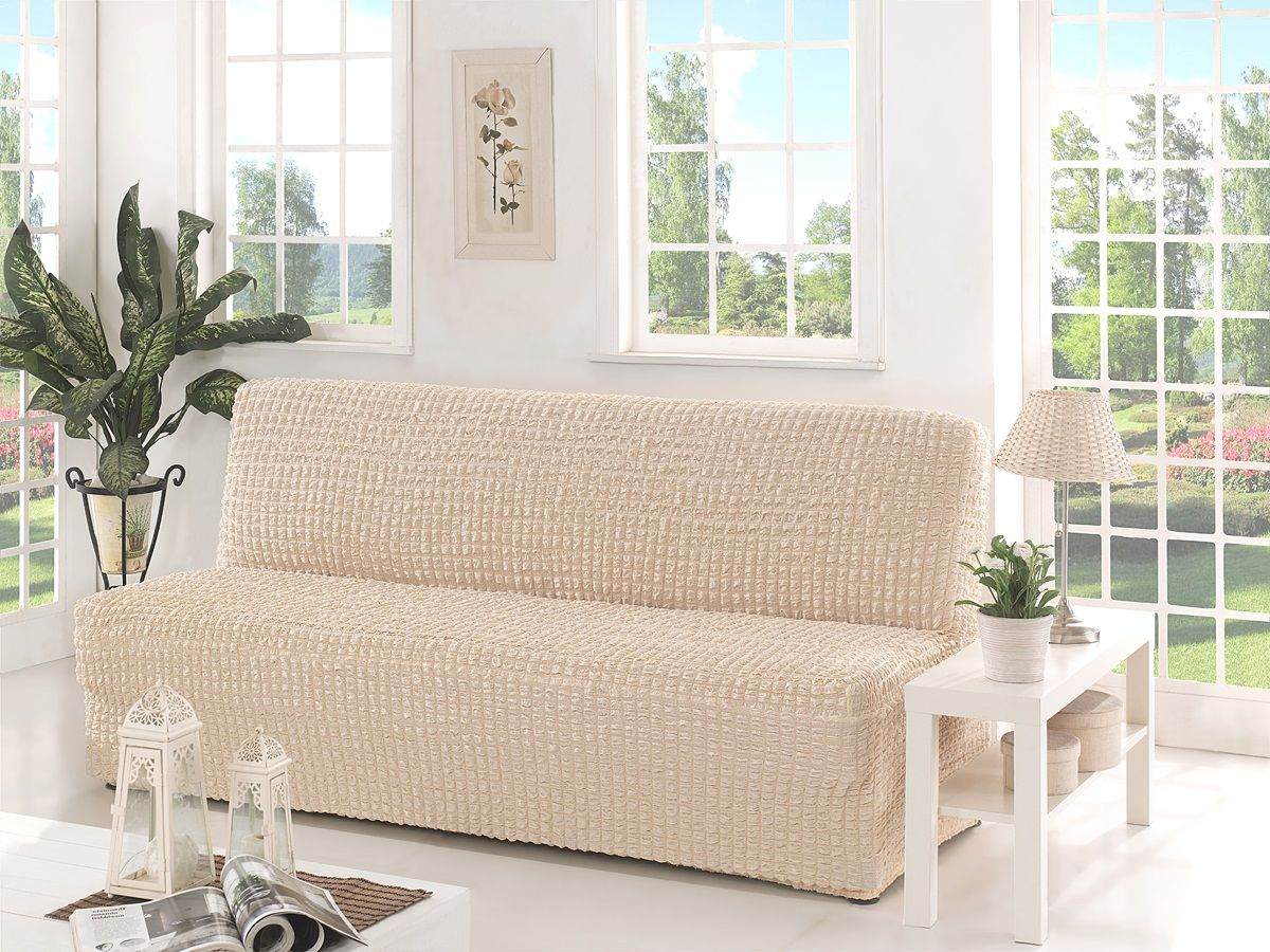 Чехол для трехместного дивана Karna, без подлокотников, без юбки, цвет: бежевый2650/CHAR006Чехол для дивана Karna изготовлен на 60% из полиэстера и на 40% из хлопка.В комплект входят фиксаторы, позволяющие надежно закрепить чехол на мебели. Они вставляются в расстояние между спинкой и сиденьем, фиксируя чехол в одном положении, и не позволяют ему съезжать и терять форму. Фиксаторы особенно необходимы в том случае, если у вас кожаная мебель или мебель нестандартных габаритов. Ширина посадочных мест: 210-260 см.Глубина посадочных мест: 70-80 см.Высота спинки от посадочного места: 70-80 см.