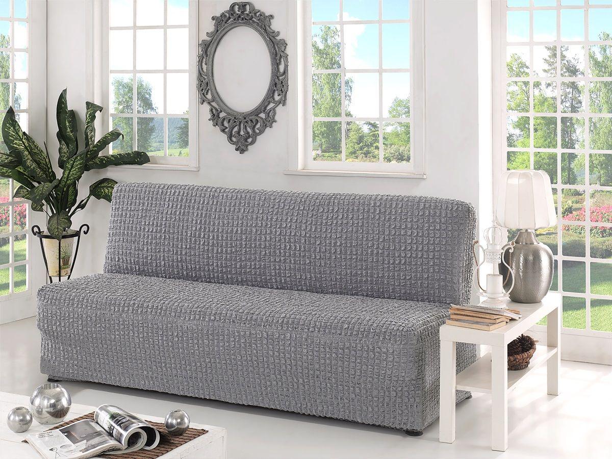Чехол для трехместного дивана Karna, без подлокотников, без юбки, цвет: серый1401121211000Чехол для дивана Karna изготовлен на 60% из полиэстера и на 40% из хлопка.В комплект входят фиксаторы, позволяющие надежно закрепить чехол на мебели. Они вставляются в расстояние между спинкой и сиденьем, фиксируя чехол в одном положении, и не позволяют ему съезжать и терять форму. Фиксаторы особенно необходимы в том случае, если у вас кожаная мебель или мебель нестандартных габаритов. Ширина посадочных мест: 210-260 см.Глубина посадочных мест: 70-80 см.Высота спинки от посадочного места: 70-80 см.