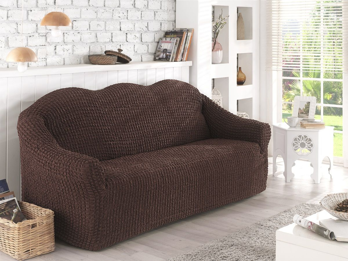 Чехол для двухместного дивана Karna, без юбки, цвет: коричневый. 2651/CHAR0032651/CHAR003Чехол для дивана Karna выполнен из высококачественного полиэстера и хлопка. Такой чехол изысканно дополнит интерьер вашего дома. В комплект входят фиксаторы позволяющие надежно закрепить чехол на вашей мебели. Они вставляются в расстояние между спинкой и сиденьем, фиксируя чехол в одном положении, и не позволяют ему съезжать и терять форму. Фиксаторы особенно необходимы в том случае, если у вас кожаная мебель или мебель нестандартных габаритов. Ширина посадочных мест: 140-180 см. Глубина посадочных мест: 70-80 см. Высота спинки от посадочного места: 70-80 см. Ширина подлокотников: 25-35 см.