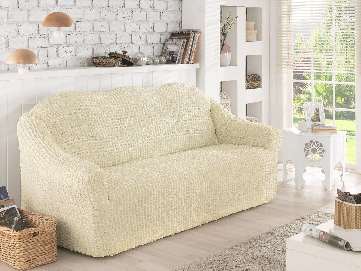 Чехол для дивана Karna, двухместный, без юбки, цвет: белый. 2651/CHAR0052651/CHAR005Чехол для дивана Karna выполнен из высококачественного полиэстера. Такой чехол изысканно дополнит интерьер вашего дома. В комплект входят фиксаторы позволяющие надежно закрепить чехол на вашей мебели. Они вставляются в расстояние между спинкой и сиденьем, фиксируя чехол в одном положении, и не позволяют ему съезжать и терять форму. Фиксаторы особенно необходимы в том случае, если у вас кожаная мебель или мебель нестандартных габаритов. Одной упаковки хватит на один диван или два кресла. Чехол упакован в сумку ПВХ на молнии.Ширина посадочных мест: 140-180 см. Глубина посадочных мест: 70-80 см. Высота спинки от посадочного места: 70-80 см. Ширина подлокотников: 25-35 см.