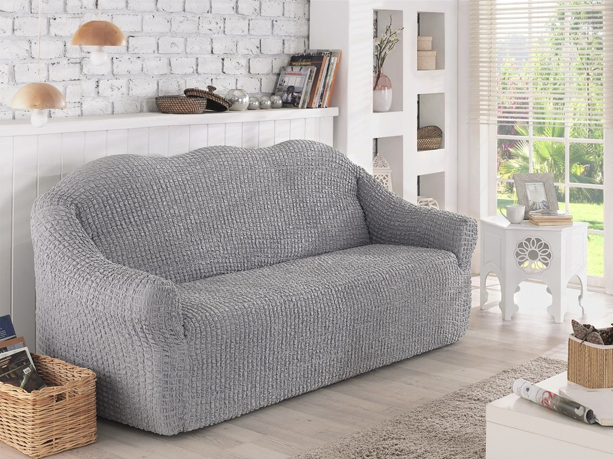 Чехол для двухместного дивана Karna, без юбки, цвет: серый. 2651/CHAR0072651/CHAR007Чехол для дивана Karna выполнен из высококачественного полиэстера и хлопка. Такой чехол изысканно дополнит интерьер вашего дома. В комплект входят фиксаторы позволяющие надежно закрепить чехол на вашей мебели. Они вставляются в расстояние между спинкой и сиденьем, фиксируя чехол в одном положении, и не позволяют ему съезжать и терять форму. Фиксаторы особенно необходимы в том случае, если у вас кожаная мебель или мебель нестандартных габаритов. Ширина посадочных мест: 140-180 см. Глубина посадочных мест: 70-80 см. Высота спинки от посадочного места: 70-80 см. Ширина подлокотников: 25-35 см.