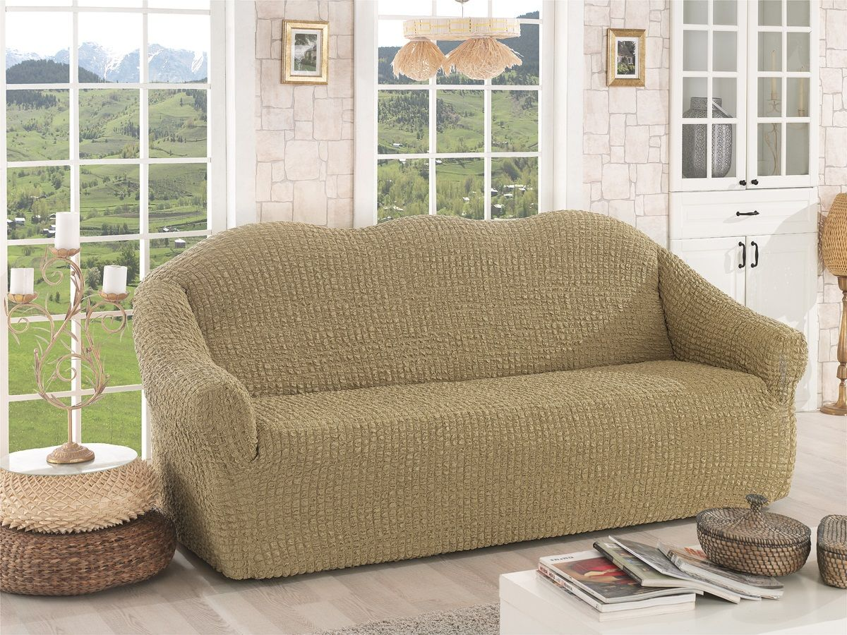 Чехол для трехместного дивана Karna, без юбки, цвет: бежевый. 2652/CHAR0012652/CHAR001Чехол для дивана Karna изготовлен на 60% из полиэстера и на 40% из хлопка.В комплект входят фиксаторы, позволяющие надежно закрепить чехол на мебели. Они вставляются в расстояние между спинкой и сиденьем, фиксируя чехол в одном положении, и не позволяют ему съезжать и терять форму. Фиксаторы особенно необходимы в том случае, если у вас кожаная мебель или мебель нестандартных габаритов. Ширина посадочных мест: 210-260 см.Глубина посадочных мест: 70-80 см.Высота спинки от посадочного места: 70-80 см.