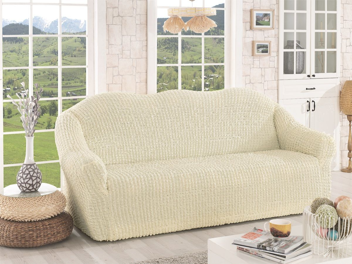 "Чехол для трехместного дивана ""Karna"", без юбки, цвет: кремовый. 2652/CHAR005"