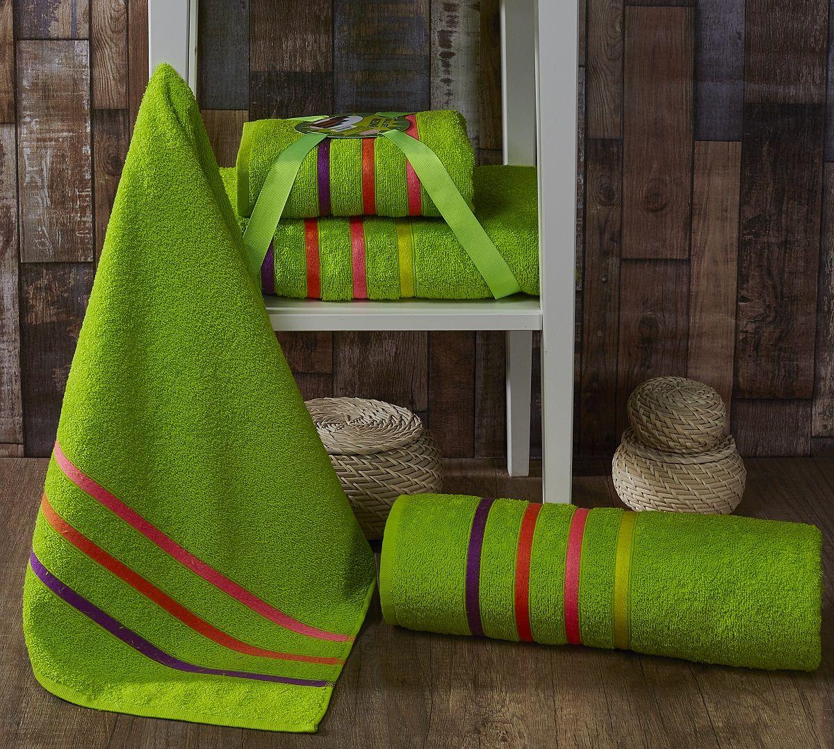 Комплект полотенец Karna Bale Neon, цвет: салатовый, 50 х 80 см, 70 х 140 см, 2 шт