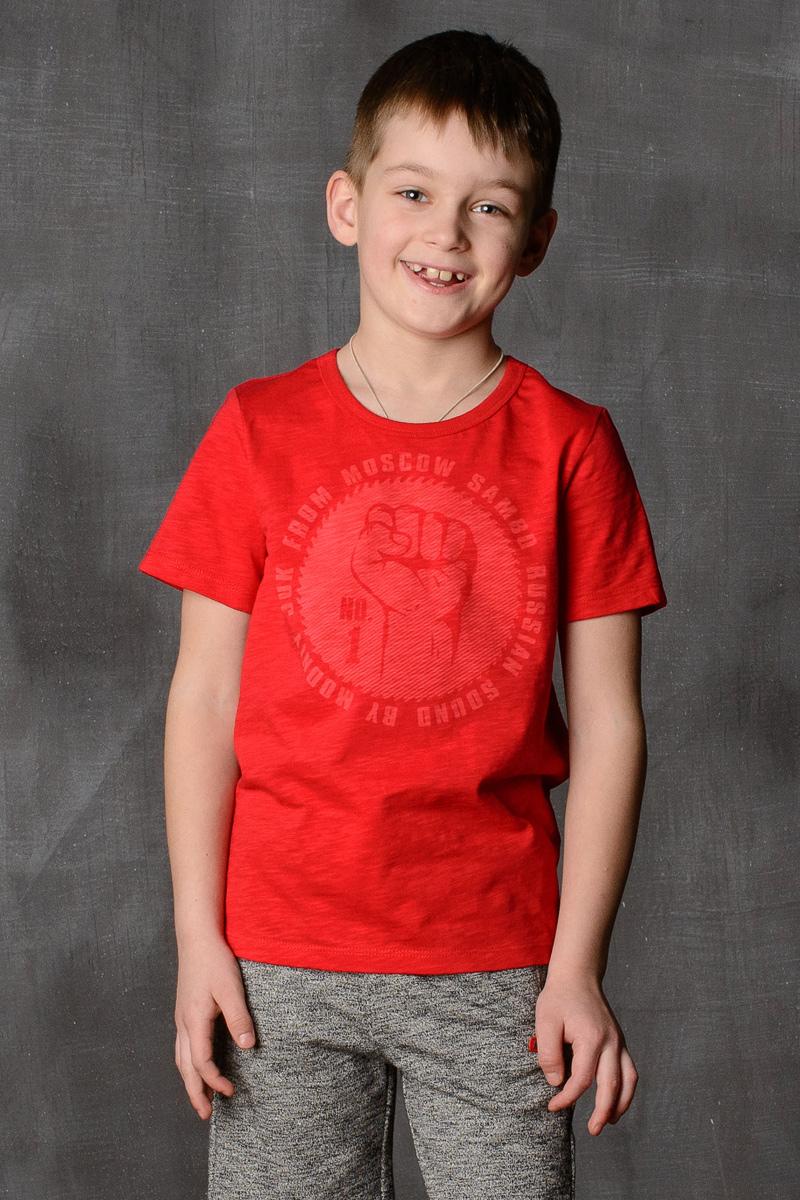 Футболка для мальчика Modniy Juk, цвет: красный. 01B00050100. Размер 128/13401B00050100/SAMBO_№1/Стильная футболка для мальчика Modniy Juk изготовлена из высококачественного легкого хлопка, она приятна на ощупь, не раздражает нежную и чувствительную кожу ребенка, позволяя ей дышать. Модель имеет полуприлегающий силуэт, не стесняет движения. Изделие дополнено ярким принтом в стиле Modniy Juk.