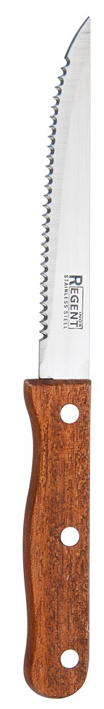Нож для стейка Regent Inox Linea Eco, длина лезвия 12,5 см93-WH2-7Нож для стейка Regent Inox Linea Eco выполнен из качественнейшей нержавеющей стали 18/10 и дерева. Лезвие ножа не впитывает запахи, оставляя натуральный вкус продукта.Нож предназначен для профессионального и домашнего использования. Он отлично подходит для разделки рыбы и мяса как сырого, так и готового. С помощью него можно быстро и аккуратно отделить мякоть от костей. Длина ножа: 22 см.