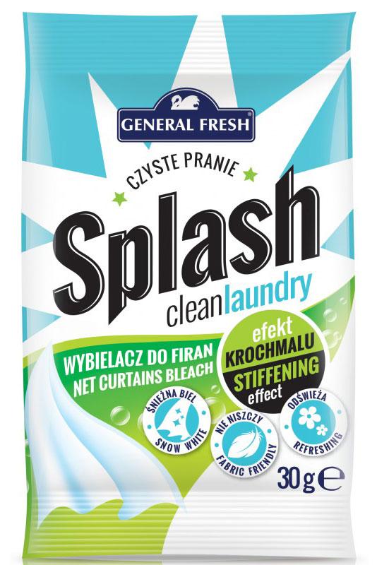 Отбеливатель General Fresh Splash, для тюлей, оптический 30 г587100Отбеливатель для тюлей Splash - это лучший способ для того, чтобы ваш тюль всегда выглядел как новый. Специально подобранные компоненты бережно ухаживают за тюлем, защищая его от быстрого оседания пыли и других загрязнений. Отбеливатель для тюля восстанавливает снежную белизну, оставляет приятный, свежий запах, который не имеет ничего общего с запахом средства на базе хлора. Отбеливатель для тюлей марки General Fresh мягко укрепляет ткани, благодаря чему, ваш тюль смотрится так, как будто вы повесили их первый раз.