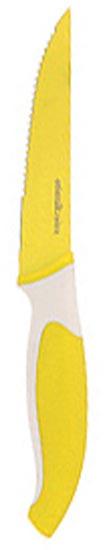 Нож кухонный Atlantis, цвет: желтый, длина лезвия 10 см. L-5K-YL-5K-YНож кухонный Atlantis высшего качества предназначен для профессионального и домашнего использования, для нарезки продуктов. Также нож идеально подойдет для нарезки хлеба.Очень удобная и эргономичная ручка не позволит выскользнуть ножу из вашей руки.Особенности ножа Atlantis: японская высокоуглеродистая нержавеющая стальпрочный и острый клинокбезопасное и прочное покрытие лезвия не дающее пище прилипать к ножукрасивое сочетание цветов ручки и лезвия. Характеристики: Материал: нержавеющая сталь, пластик. Длина лезвия: 10 см. Длина общая: 21 см. Производитель: Китай. Артикул: L-5K-Y.