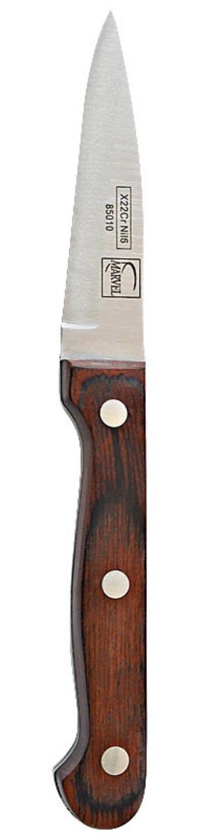 Нож кухонный Marvel Rose Wood Original, длина лезвия 8 см85010Кухонный нож Marvel Rose Wood Original - незаменимый помощник на вашей кухне. Лезвие, изготовленное из стали, более стойкое к воздействию кислот, содержащихся в продуктах, более гигиенично и не подвержено коррозии. Кроме того, лезвие из стали сохраняет остроту дольше, чем другие ножи. Легкая, отлично сбалансированная и приятная на ощупь рукоятка удобна в использовании. Общая длина ножа: 18 см.