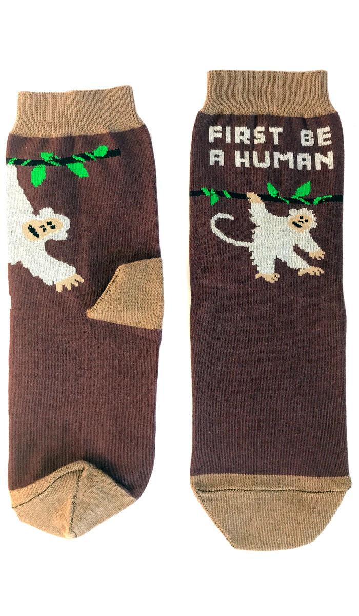 Носки Big Bang Socks Обезьянка, цвет: коричневый. a181. Размер 40/44a181Яркие носки Big Bang Socks изготовлены из высококачественного хлопка с добавлением полиамидных и эластановых волокон, которые обеспечивают великолепную посадку. Носки отличаются ярким стильным дизайном. Они оформлены изображением обезьянки и надписью на английском языке. Удобная резинка идеально облегает ногу и не пережимает сосуды, усиленные пятка и мысок повышают износоустойчивость носка, а удлиненный паголенок придает более эстетичный вид. Дизайнерские носки Big Bang Socks - яркая деталь в вашем образе и оригинальный подарок для друзей и близких.