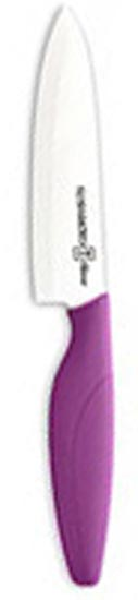 Нож поварской Hatamoto, 15 см, цвет: фиолетовыйHC150W-PURПоварской нож Hatamoto изготовленный из керамики, превосходно подойдет для любого приготовления и разделывания продуктов. Ручка ножа имеет элегантный, современный и яркий вид, который подойдет к интерьеру любой кухни. Такой нож займет достойное место среди аксессуаров на вашей кухне. Основные характеристики ножа Hatamoto:- при правильном использование не нуждается в заточке - не царапается в процессе резки - не боится моющих средств - весит меньше металлических ножей - не окисляется - на ноже не остается грязных пятен - не ржавеет.Дополнительные преимущества керамических ножей Hatamoto:- колоссальная острота и износостойкость режущей кромки, в духе и лучших традициях японских мастеров - не требуют заточки в течение 4-5 лет, потому что циркониевая керамика уступает по твердости только алмазу - не оставляют послевкусия, потому что не вступают в реакцию ни с какими продуктами - не подвергаются ржавлению и не имеют трудноудаляемых грязных пятен - рукоять из пластика, покрытого термостойким каучуком, предотвращает выскальзывание ножа - рекомендованы для приготовления пищи маленьким детям, беременным женщинам, аллергикам, а также в дошкольных и лечебно-профилактических учреждениях.Характеристики: Материал: керамика, пластик. Длина лезвия: 15 см. Длина общая: 29 см. Артикул: 150W-A2 Purple. Изготовлено по заказу компании Hatamoto Co., Ltd, Япония.Ножи Hatamoto, изготовленные из керамики, представляют собой великолепные профессиональные инструменты, отличающиеся повышенной износостойкостью, значительно превышающей износостойкость стали. На лезвиях этих ножей в процессе эксплуатации не образуются царапины. Удобная рукоять, выполненная из резинопласта, обеспечивает четкую фиксацию ножа Hatamoto в ладони. А его небольшой вес поможет Вам сохранить силы, получая от процесса работы на кухне только положительные эмоции! Правила использования и уход за кухонными керамическими ножами: - Перед использованием в первый раз ополос