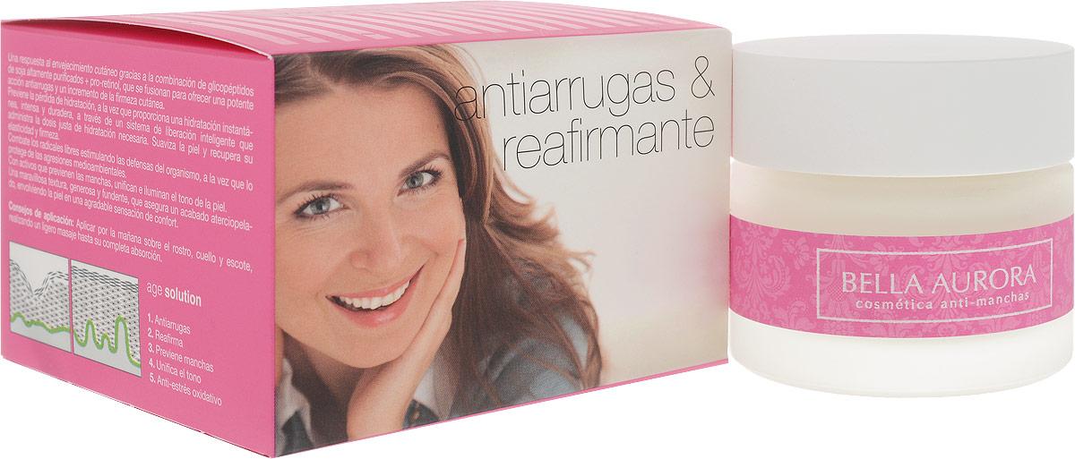 Bella Aurora Антивозрастной укрепляющий крем для лица SPF 15 50 мл183Крем Age solution создан для ответа процессу старения: комбинация соевого гликопептида и про-ретинола создает мощное сопротивление морщинам и увеличивает упругость кожи./Средство предотвращает потерю влаги, обеспечивает мгновенное и продолжительное увлажнение, а также борется со свободными радикалами, стимулируя естественную защитную систему кожи и снижая негативное воздеи?ствие окружающеи? среды. /Age solution содержит активные ингредиенты, которые предотвращают появление пигментных пятен, выравнивают и осветляют кожу. Роскошная тающая текстура обеспечивает бархатныи? финиш при нанесении, обволакивая кожу приятным чувством комфорта. SPF15. /Применение: Каждое утро наносить на всю поверхность лица и шеи легкими массажными движениями до полного впитывания. Помните о необходимости дополнить уход солнцезащитным флюидом SPF50+, очищающим скрабом-гелем и ночным питательным кремом.