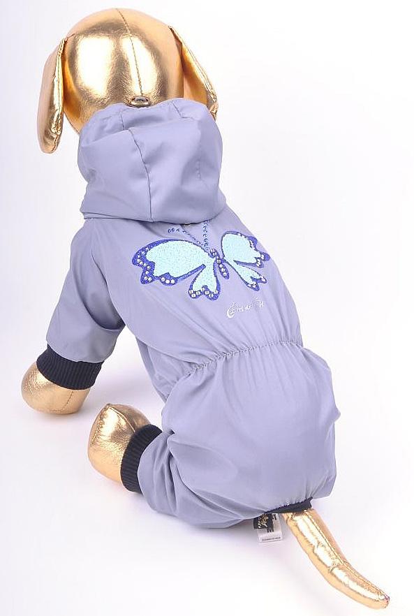 Дождевик прогулочный для собак GLG  Бабочка , цвет: сиреневый. Размер L - Одежда, обувь, украшения