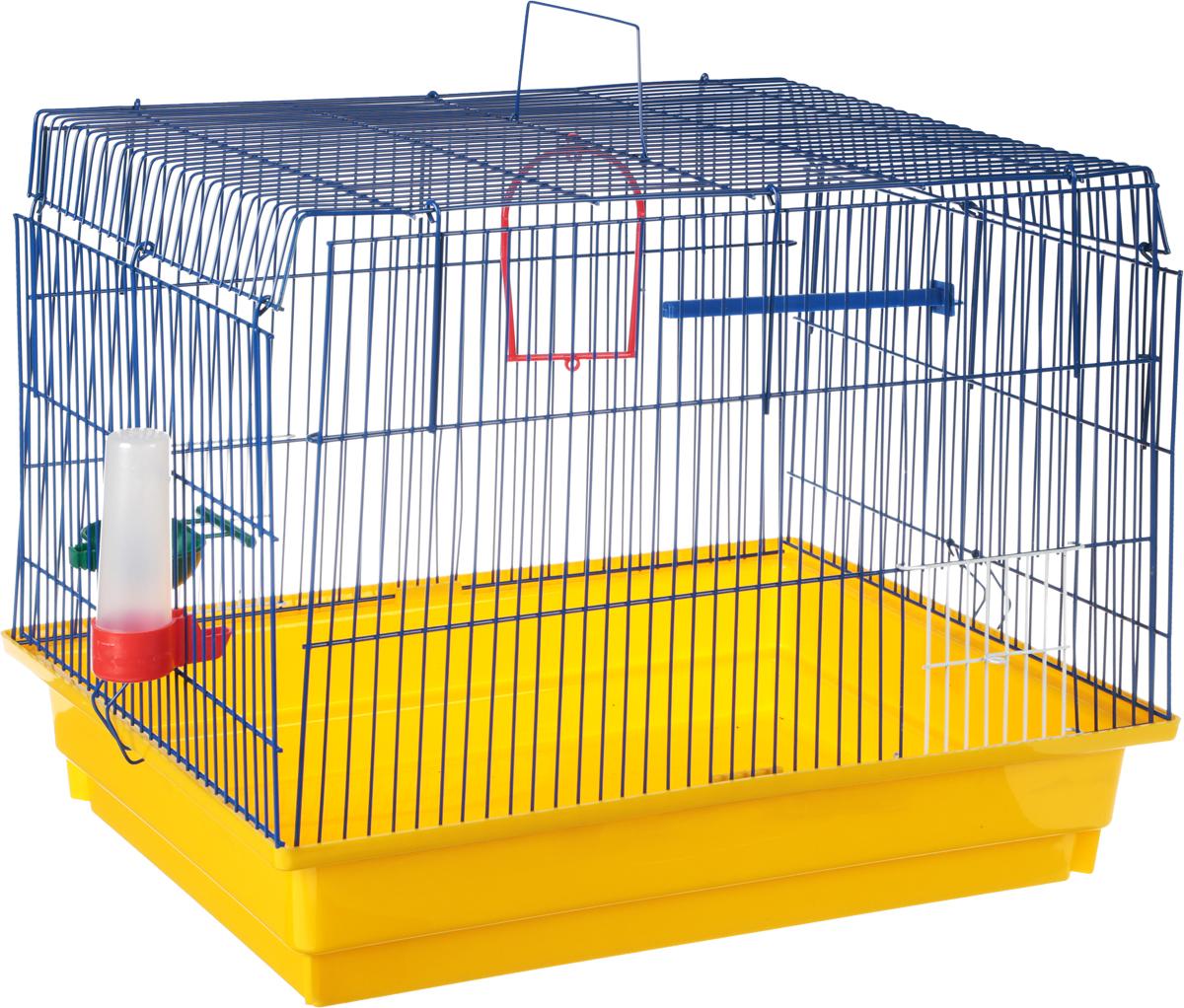 Клетка для птиц  ЗооМарк , цвет: желтый поддон, синяя решетка, 50 х 31 х 41 см