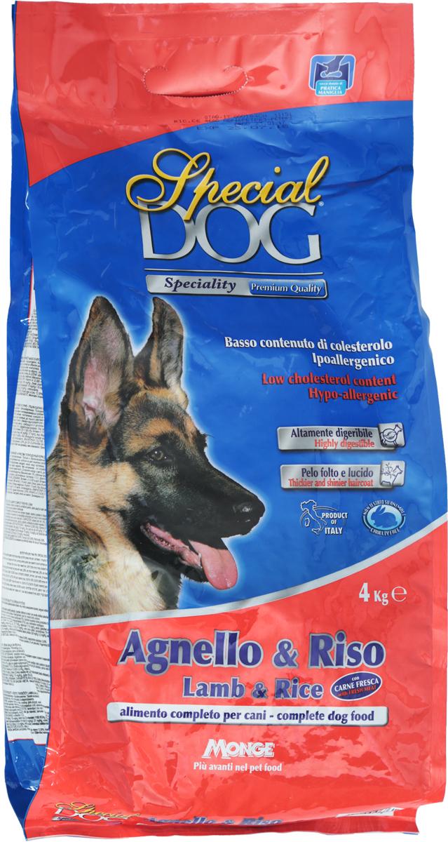 Корм сухой Monge Special Dog для собак с чувствительной кожей и пищеварением, с ягненком и рисом, 4 кг корм сухой monge dog speciality mini для взрослых собак мелких пород с ягненком рисом и картофелем 800 г
