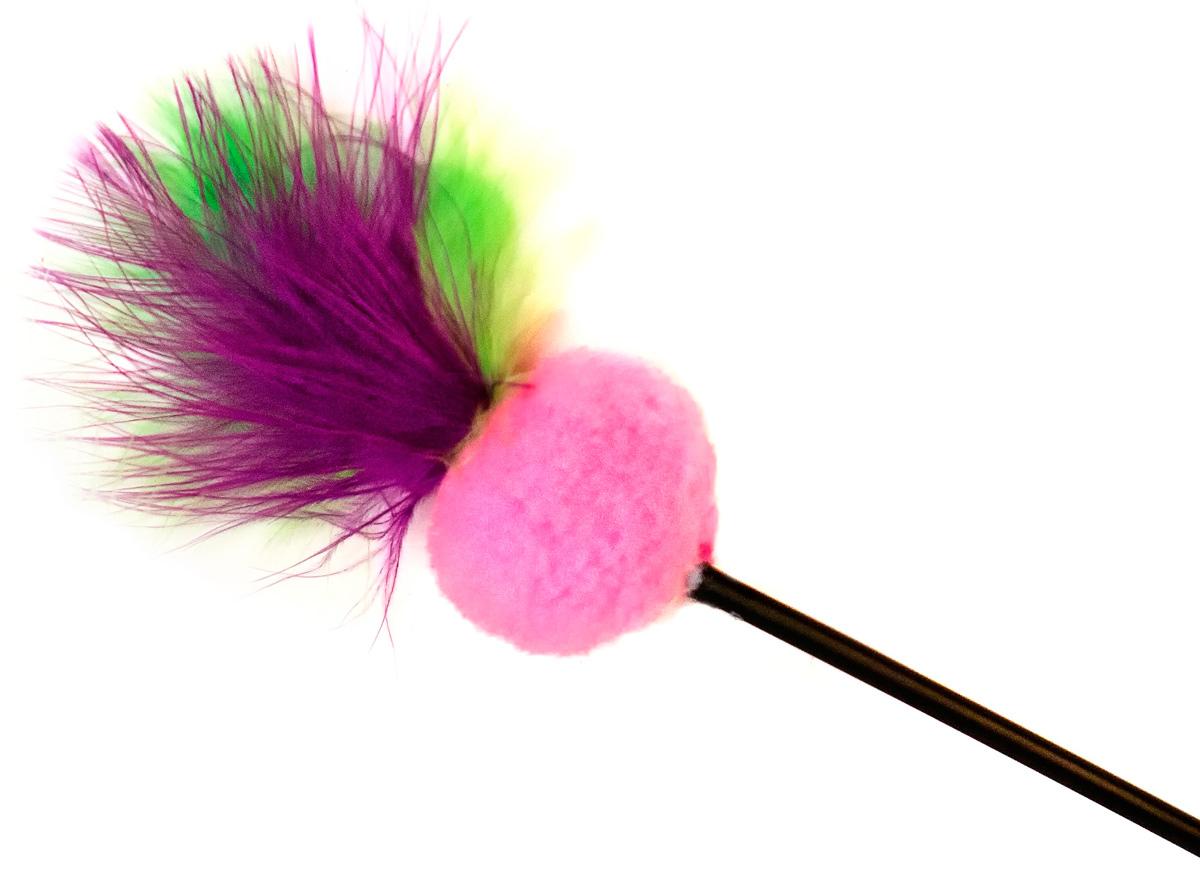 Игрушка-дразнилка для кошек GLG Мячик мягкий с перьями, длина 60 см игрушка для животных каскад удочка с пауком и перьями длина 58 5 см