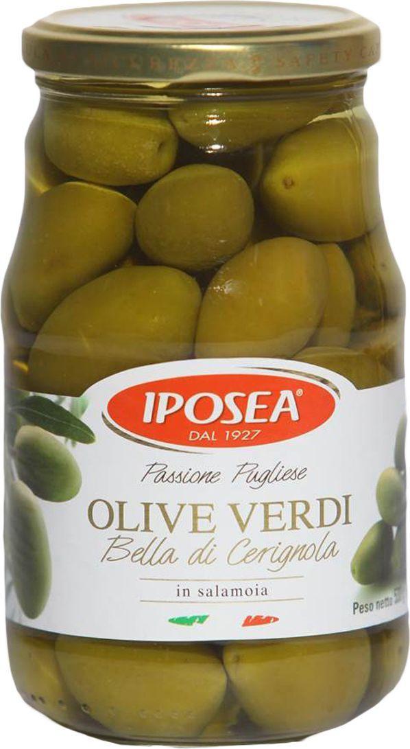 Iposea Оливки Белла Чериньола, 530 г korvel натуральные оливки каламата с косточкой джамбо 290 г