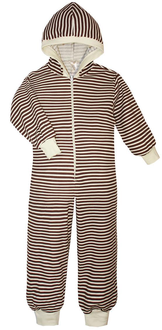 Пижама детская КотМарКот, цвет: светло-бежевый, коричневый. 16919. Размер 122/12816919Пижама детская КотМарКот выполнена из натурального хлопка. Модель с капюшоном и длинными рукавами застегивается на застежку-молнию. Манжеты рукавов и низ брючин дополнены трикотажными манжетами.