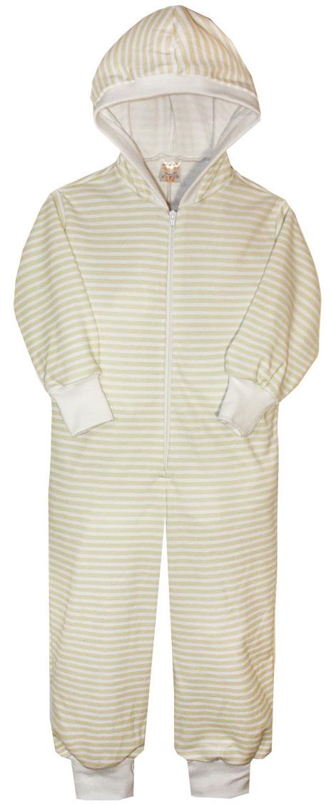 Пижама детская КотМарКот, цвет: бежевый, молочный. 16920. Размер 110/11616920Пижама детская КотМарКот выполнена из натурального хлопка. Модель с капюшоном и длинными рукавами застегивается на застежку-молнию. Манжеты рукавов и низ брючин дополнены трикотажными манжетами.
