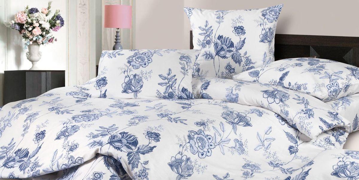 Комплект белья Ecotex Жаклин, 1,5-спальный, наволочки 70х70, цвет: белый, синийКГ1Комплект постельного белья Ecotex выполнен из сатина (100% хлопок). Комплект состоит из пододеяльника, простыни и 2 наволочек. Белье дополнено цветочным рисунком. Постельное белье из коллекции Гармоника - это уникальное сочетание мягкости и нежности благородного сатина со свежестью дизайнерских решений. Коллекция рассчитана на взыскательных потребителей, ценящих стиль, оригинальный дизайн, а также собственный комфорт и нежное прикосновение ткани.