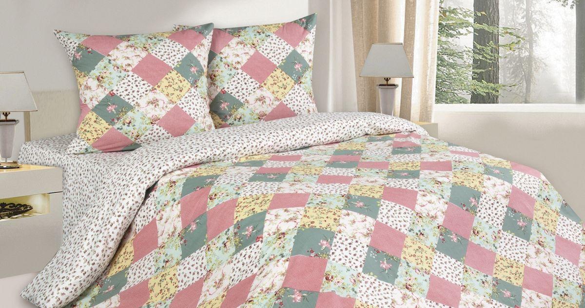 Комплект белья Ecotex де Флер, 1,5-спальный, наволочки 70х70, цвет: белый, розовый, серыйКП1Комплект постельного белья Ecotex выполнен из поплина (100% хлопок). Высококачественный поплин позволяет коже дышать в течение всей ночи и обладает расслабляющим эффектом. Насладившись полноценным сном, вы проснетесь с новым зарядом энергии и хорошего настроения. Комплект состоит из пододеяльника, простыни и 2 наволочек. Белье в стиле пэчворк дополнено цветочным рисунком. Коллекция Поэтика рассчитана на взыскательных потребителей, ценящих стиль, оригинальный дизайн, а также собственный комфорт и нежное прикосновение ткани.