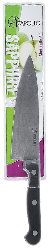 Нож кухонный Apollo Sapphire, длина лезвия 15 смТКР004\1Нож Apollo Sapphire изготовлен из высококачественной нержавеющей стали. Рукоятка, выполненная из пластика, не скользит в руках и делает резку удобной и безопасной. Этот нож станет хорошим помощником в рубке, измельчении, крошении, разрубании костей и займет достойное место среди аксессуаров на вашей кухне. Не рекомендуется мыть в посудомоечной машине, после мытья нож необходимо вытереть насухо мягкой тканью. Характеристики:Материал:нержавеющая сталь, пластик. Общая длина ножа:27 см. Длина лезвия: 15 см. Артикул:ТКР004\1.