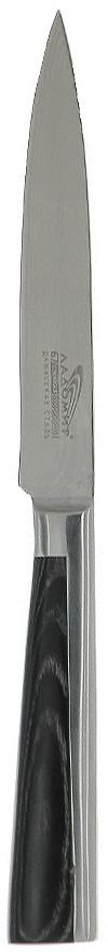 Нож универсальный Ладомир, дамасская сталь, длина лезвия 12 см. А4АСМ12А4АСМ12Универсальный нож Ладомир выполнен из многослойной кованой дамасской стали (67 слоев). Очень удобная и эргономичная рукоятка изготовлена из материала pakkawood - многослойный древесный композитный материал, обладающий повышенной стойкостью к температурным, механическим и химическим воздействиям. Рукоятка оснащена цельнокованым антибактериальным больстером.Универсальный нож предназначен для разделки овощей, рыбы и других продуктов. В этом ноже воссозданы уникальные секреты производства дамасской стали, не имеющей себе равных по твердости, гибкости и остроте.Особенности универсального ножа Ладомир: - твердость по Роквеллу - HRC 59-61; - углеродные нанотрубки диаметром до 80 нанометров - режущие свойства лезвия в 2.7 раза выше, чем у обычного ножа;- износостойкость лезвия соответствует ГОСТ 23.204-78. Характеристики:Материал: многослойная кованая дамасская сталь, pakkawood. Общая длина ножа: 24 см. Размер лезвия (Д х Ш х В): 12 см х 2 см х 0,2 см. Изготовитель: Китай. Артикул: А4АСМ12.