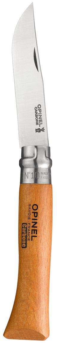 Нож Opinel n°10 углеродистая сталь 113100113100Нож Opinel n°10 с лезвием из углеродистой стали. Идеальный карманный нож для пикника, барбекю, походов, охоты и рыбалки. Углеродистая сталь ножа менее устойчива к корозии, на ней могут появиться пятна и разводы от лимонной кислоты, зато ее легко и быстро заточить. Viroblock - оригинальное запорное устройство, представляющее собой кольцо с прорезью, которое, будучи повернуто относительно оси ножа, упирается в пятку клинка и не дает ножу самопроизвольно складываться при работе или раскладываться в кармане. Конструкция эта защищена патентом и устанавливается на ножи Opinel с 1955 года, начиная с модели n°6.Характеристики ножа:Материал лезвия: сталь XC90 CarbonМатериал рукояти: букТип ножевого замка: ViroblockПриспособление для открытия клинка: насечка на лезвииДлина лезвия, см: 10Длина ножа, см: 22,5Ширина лезвия, см: 2,1Длина в сложенном положении, см: 13Вес, г: 71