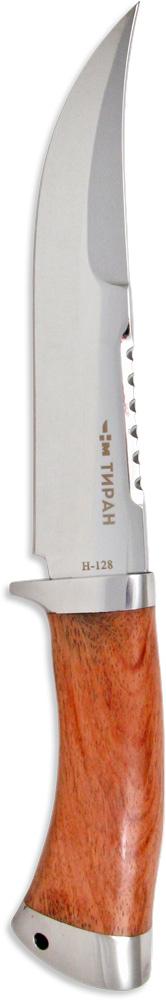 Нож нескладной Ножемир Тиран, нержавеющая сталь, с ножнами, общая длина 28,5 см. H-128H-128Тем, кому важно иметь один универсальный нож на все случаи жизни, рекомендуется купить нож Ножемир Тиран. Эта модель вобрала в себя все необходимые элементы туристического ножа: острый кончик, насечки на обухе для чистки рыбы, острую изогнутую режущую кромку. Лезвие выполнено из высококачественной нержавеющей стали с зеркальной полировкой. Рукоять ножа изготовлена из палисандра. Для переноски и хранения в комплекте есть ножны из кордуры.Общая длина ножа: 28,5 см.